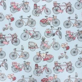 Coated cretonne cotton fabric - blue Bicycle trip x 10 cm