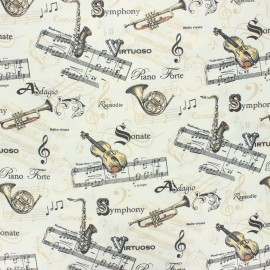 Coated cretonne cotton fabric - raw Maestro x 10 cm