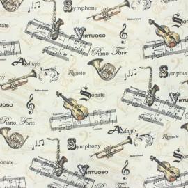 Tissu coton cretonne enduit Maestro - écru x 10cm