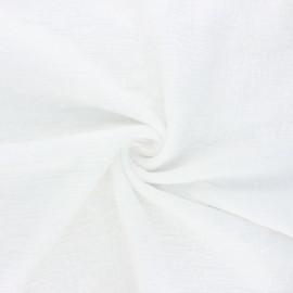 Tissu double gaze de coton brodé Nina - blanc cassé x 10cm