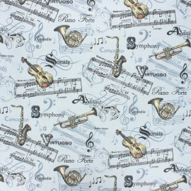 Coated cretonne cotton fabric - light grey Maestro x 10 cm