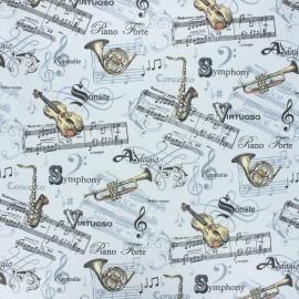 Tissu coton cretonne enduit Maestro - gris clair x 10cm