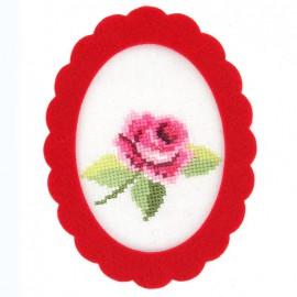 Cadre en feutre ovale Rouge