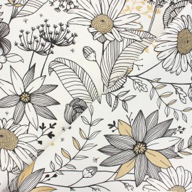 Canvas cotton fabric - raw Sweet dandelion x 10cm