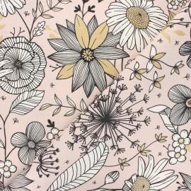 Canvas cotton fabric - water pink Sweet dandelion x 10cm