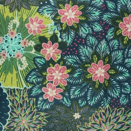 Coated cretonne cotton fabric - pine green Guzman x 10cm