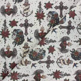 Tissu toile de coton Old school style - sable x 10cm