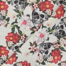 Canvas cotton fabric - sand Flowery skulls x 10cm
