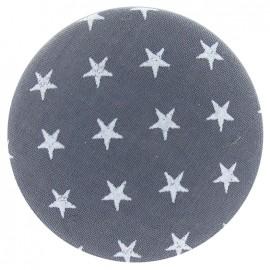 Bouton recouvert gris à étoiles blanches