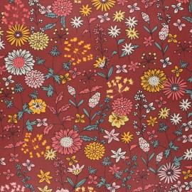 Coated cretonne cotton fabric - brick red Valentine x 10 cm