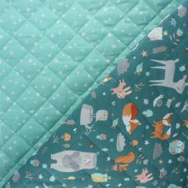 Tissu matelassé réversible Faline/Atria - bleu paon x 10cm
