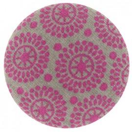 Bouton recouvert motifs rose et gris