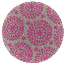 Covered Button, pink and grey patterns - two-tone
