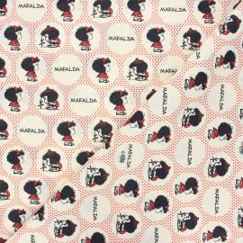 Tissu coton cretonne Curious Mafalda - écru x 10cm