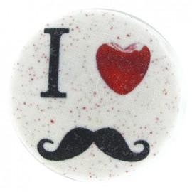 "Bouton recouvert ""I ♥ moustache"" blanc"