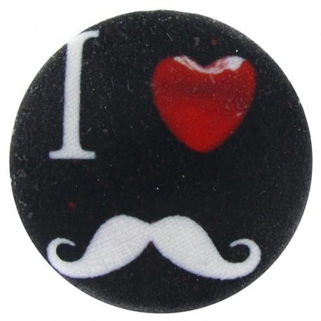 """Bouton recouvert """"I ♥ moustache"""" noir"""