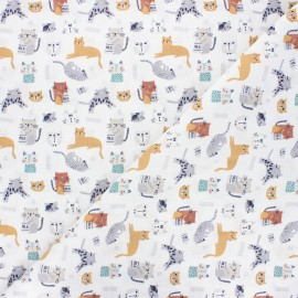 Cretonne cotton fabric - white Chatons x 10cm