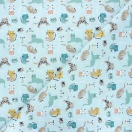 Cretonne cotton fabric - aqua Chatons x 10cm