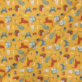 Cretonne cotton fabric - ochre Chatons x 10cm