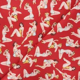 Cretonne cotton fabric - red Coquines x 10cm