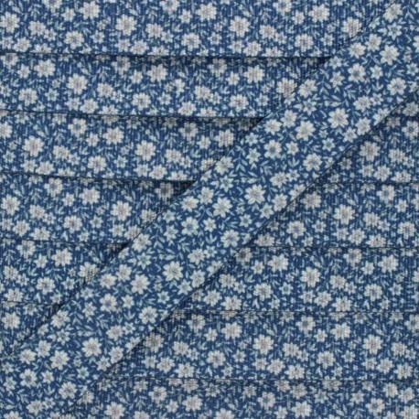 30 mm polyester strap - blue Floralia x 1m