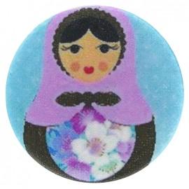Covered Button, Matriochka - blue