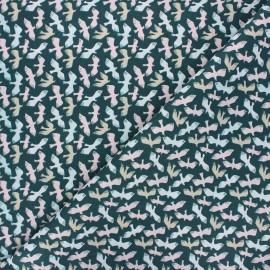 Cretonne cotton fabric - peacock blue Dove x 10cm