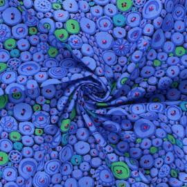 Kaffe Fassett cotton poplin fabric - swell blue Button mosaic x 10cm