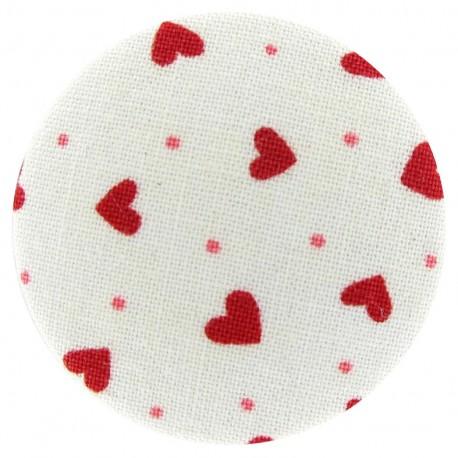 Bouton recouvert Blanc à Coeurs rouges
