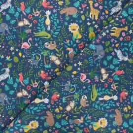 Cretonne cotton fabric - midnight blue Buenos Aires x 10cm