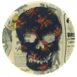 Covered Button, Skull - brown