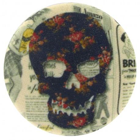 Bouton recouvert Tête de mort marron