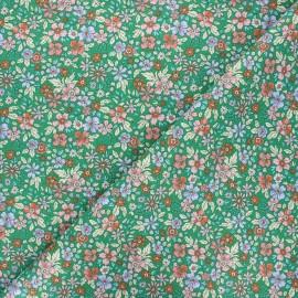 Cretonne cotton fabric - green Pensée x 10cm