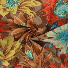 Tissu popeline de coton Kaffe Fassett Cactus flower - marron x 10cm