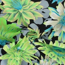 Kaffe Fassett Cotton poplin fabric - light green Cactus flower x 10cm