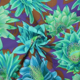 Tissu popeline de coton Kaffe Fassett Cactus flower - violet x 10cm