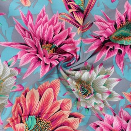 Kaffe Fassett Cotton poplin fabric - grey Cactus flower x 10cm