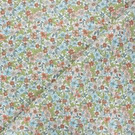 Cretonne cotton fabric - white Pensée x 10cm