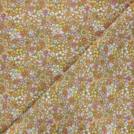 Cretonne cotton fabric - honey Pensée x 10cm
