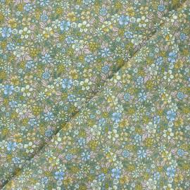 Cretonne cotton fabric - khaki green Pensée x 10cm