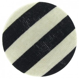 Covered Button, Stripes - navy blue