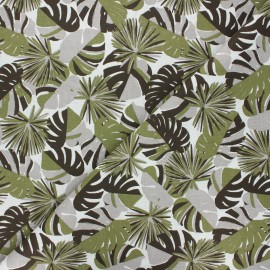 Cretonne cotton fabric - khaki green Guadeloupe x 10cm