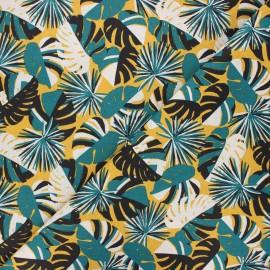 Cretonne cotton fabric - yellow Guadeloupe x 10cm