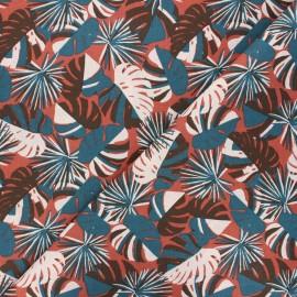 Cretonne cotton fabric - brick Guadeloupe x 10cm