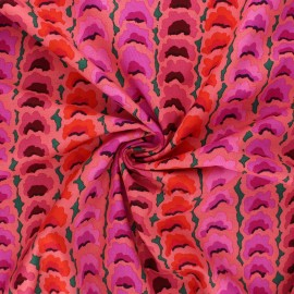 Tissu popeline de coton Kaffe Fassett Garlands - corail x 10cm