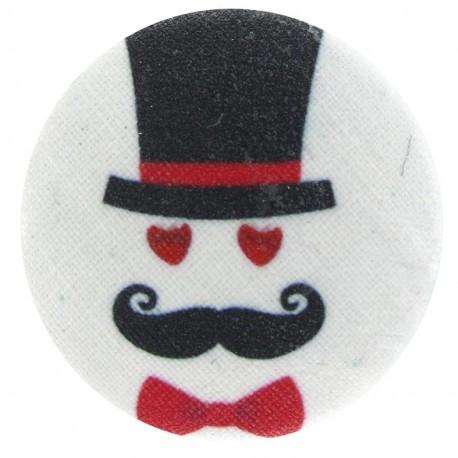 Bouton recouvert Moustache et Chapeau