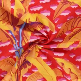 Tissu popeline de coton Kaffe Fassett Banana tree - rouge x 10cm