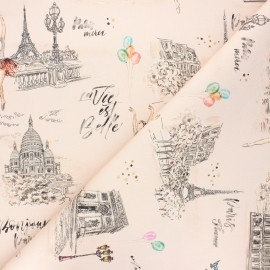 Tissu coton sergé Garnier - rose pâle x 10cm