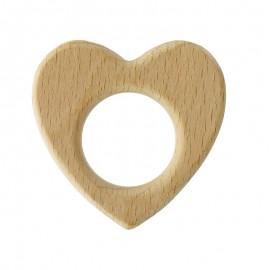 Anneau de dentition bois naturel Baby - Coeur