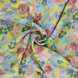 Lyocell Tencel fabric - curry yellow Sweet flowers x 10cm